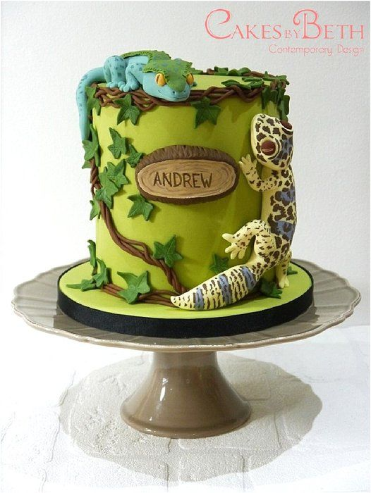 Birthday geckos - by Cakesbybeth @ CakesDecor.com - cake decorating website