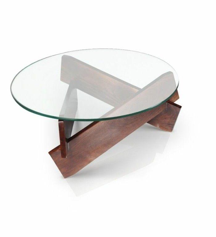 table basse bois et verre ronde pour le salon moderne