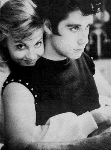 "Джон Траволта и Оливия Ньютон-Джон на съёмках ""Бриолина"". 1978 г."