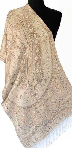 Coffee Ivory Silk Scarf or Shawl Beige Reversible Jamawar Indian Wrap | eBay