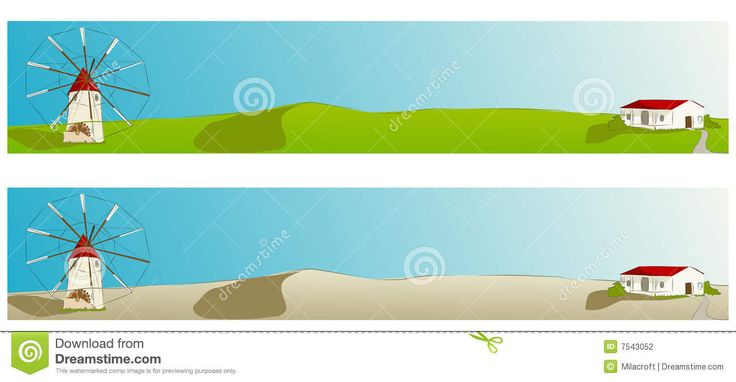 Spanish Windmill - Web Banner Vector Illustration Stock