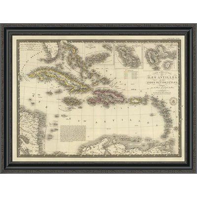 "East Urban Home 'Iles Antilles Ou Des Indes Occidentales; 1828' Framed Print Size: 26"" H x 34"" W x 1.5"" D"