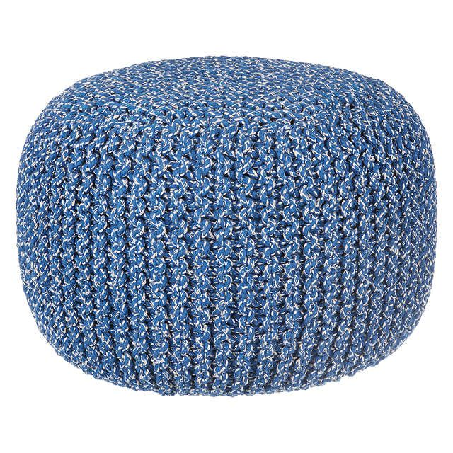 BuyHouse by John Lewis Chunky Knit Pouffe, Cobalt Online at johnlewis.com