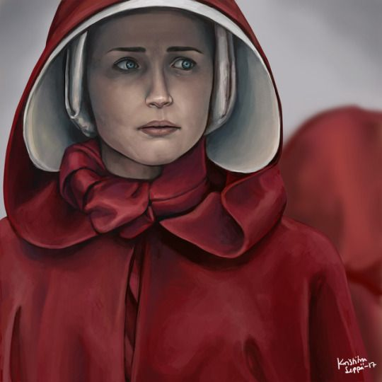 Portrait of Ofglen/Ofsteven/Emily from the Handmaid's Tale TV version portrayed by  Alexis Bledel. Painted in 2017.