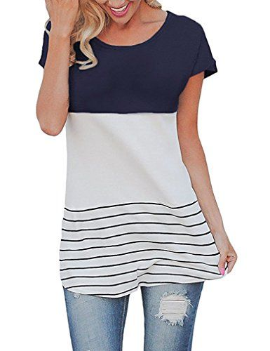 Sherosa Women's Round Neck Tunic Tops Striped Short Sleeve Tshirt (Navy Blue,M)  Special Offer: $13.89  277 Reviews Sherosa Women's Casual Color Block Lace Inset Short Sleeve T Shirt Tunic Tops Feature: Casual style short sleeve crewneck top with high low hem Pacthwork and...