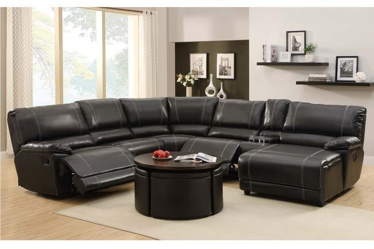 Homelegance black leather reclining sectional sofa chaise for Black leather sectional with chaise