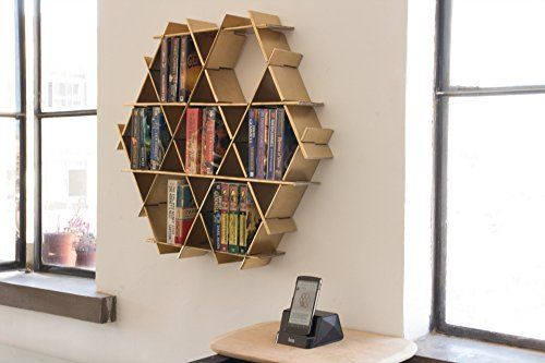 Hexagon Floating Shelves Hanging Bookshelf Living Room Storage Small Bookshelf - Ruche Shelving Unit Medium- Gold finish