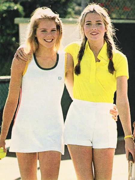 Tennis fashion for girls in Seventeen magazine 1976  (Blondes were actually featured in magazines and on tv)