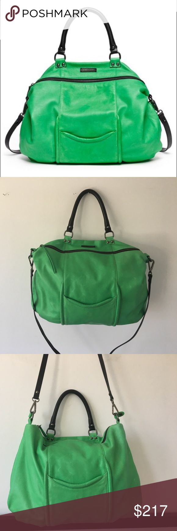 100% Leather Green Hayden Harnett Shoulder Bag Authentic Leather Hayden- Harnett Lime Green Shoulder/ Crossbody Bag. Removable Crossbody Strap. Includes original Hayden- Harnett Storage Bag.                  100% Black Cotton lining.                                                      Has 2 pockets on both sides of the exterior, 3 pockets and 1 zipper on interior for essentials.                                 Measures 14 inches from zipper to bottom and 16 inches from side to side.  Minor…