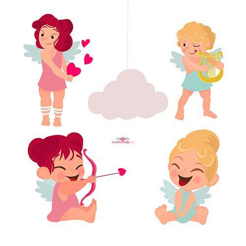 Картинки ко Дню Святого Валентина — пары и ангелы (5 шт.)   Скрапинка…