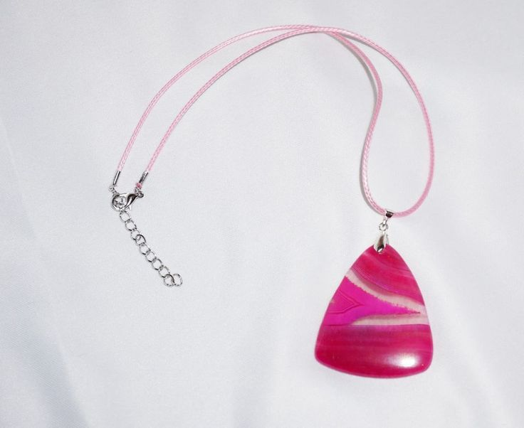 Pink Triangle, Agate Necklace, Pink Necklace Cord, Pink Jewelry, Agate Pendant #SunLiEarthDreams #Pendant
