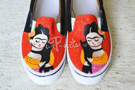 Frida Cat Custom Shoes by PartsCustomShoes on Etsy