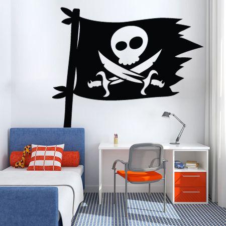Décorez la chambre de votre petit pirate avec ce drapeau stickerspirate flagsdecals
