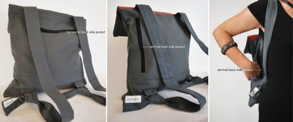 Waterproof backpack Messenger bag Gray red canvas Leather