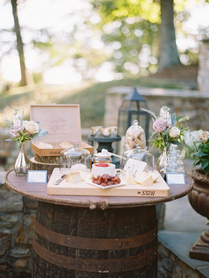 Wine barrel turned cocktail table #wedding | Photography: Abby Jiu  Read more - http://www.stylemepretty.com/2014/01/17/intimate-goodstone-inn-wedding/