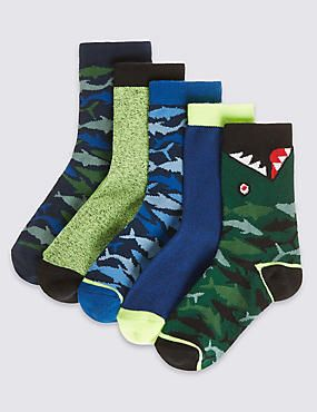 5 Pairs of Freshfeet™ Cotton Rich Socks with Silver Technology