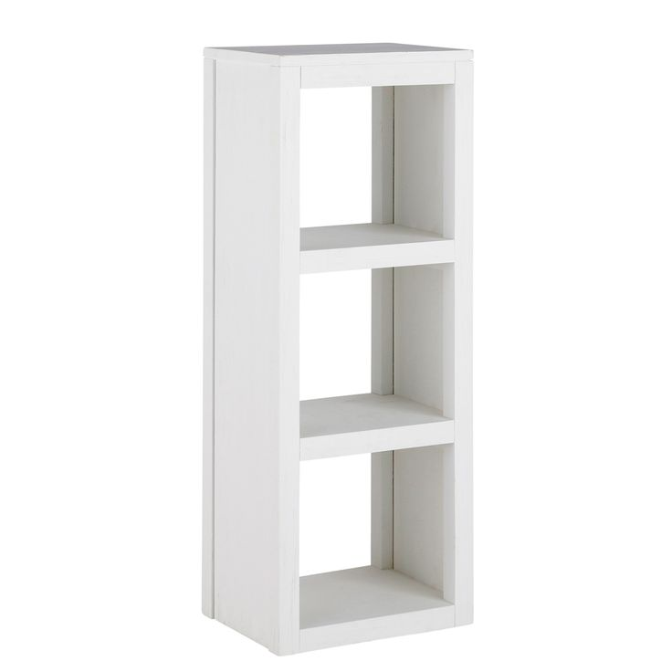 Solid wood shelf tower unit in white H 104cm White