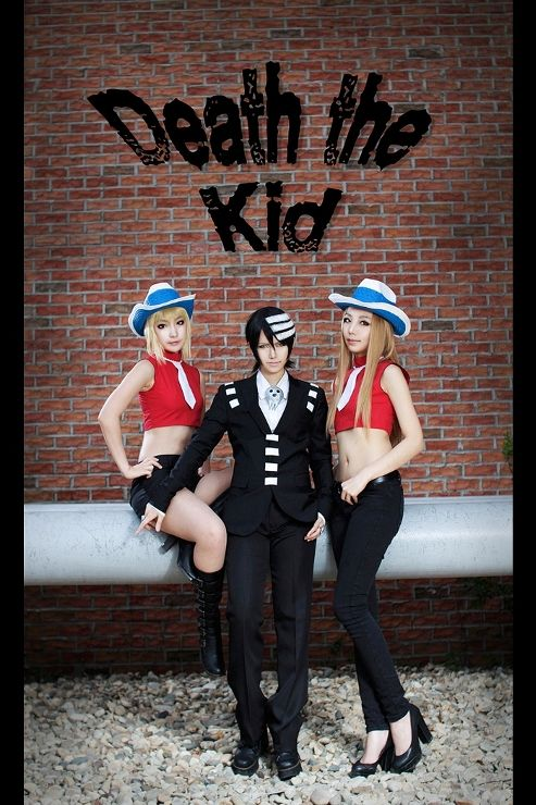 soul eater death the kid and twins sisiter cosplayers Liz and Patty