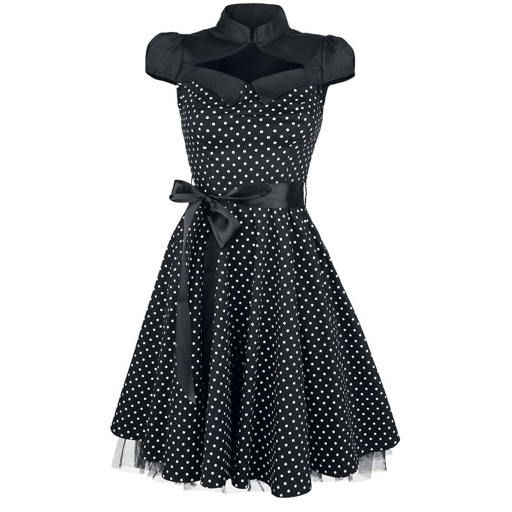 "Abito ""Black White Small Polka Dot Swing Dress"" del brand #H&RLondon."