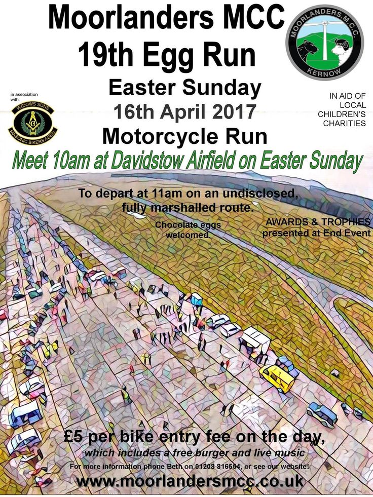 Moorlanders MCC will hold their 19th Easter Egg Run on 16th April 2017, Easter Sunday, starting Davidstow Airfield at 10am near Camelford, North Cornwall