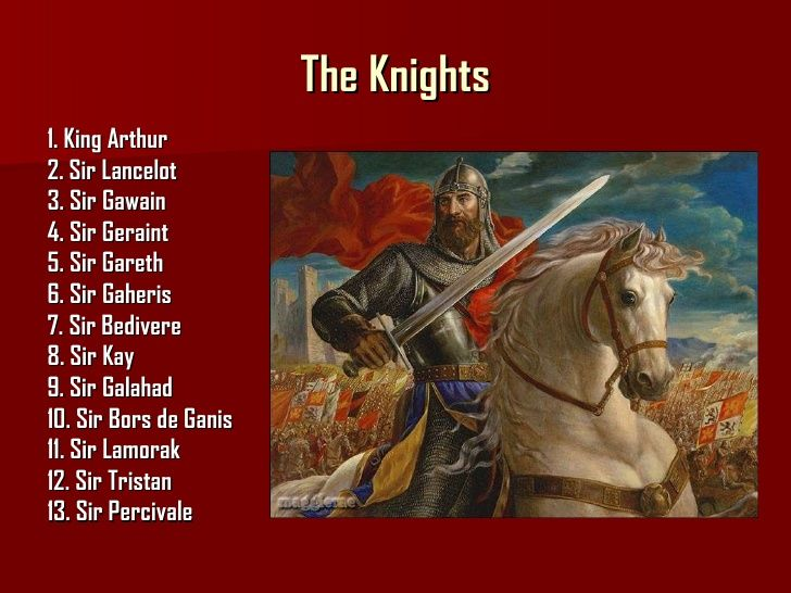 12 Knights Of The Round Table.King Arthur And List Of Knights Of The Round Table