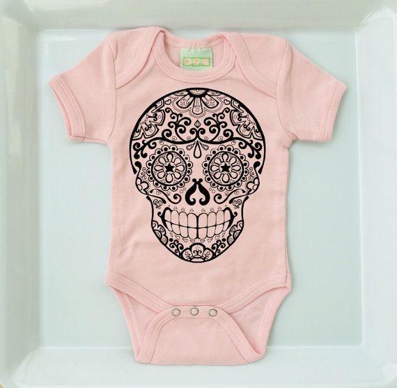Sugar Skull Tattoo Pastel Pink Romper. 3  6 12 18 by BonesNelson, $15.99