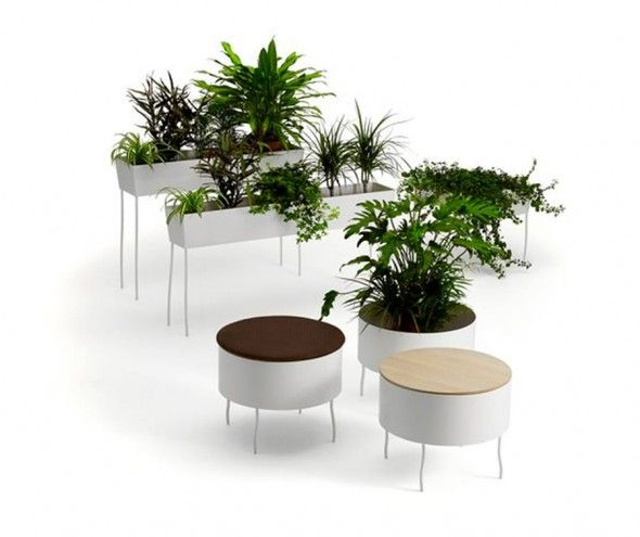 Eco Friendly Flowerpot Design for Outdoor and Indoor Planters, Green Pedestals by Sofia Lagerkvist