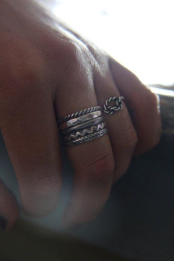 Sterling silver anelli di impilamento. Anelli impilabili.