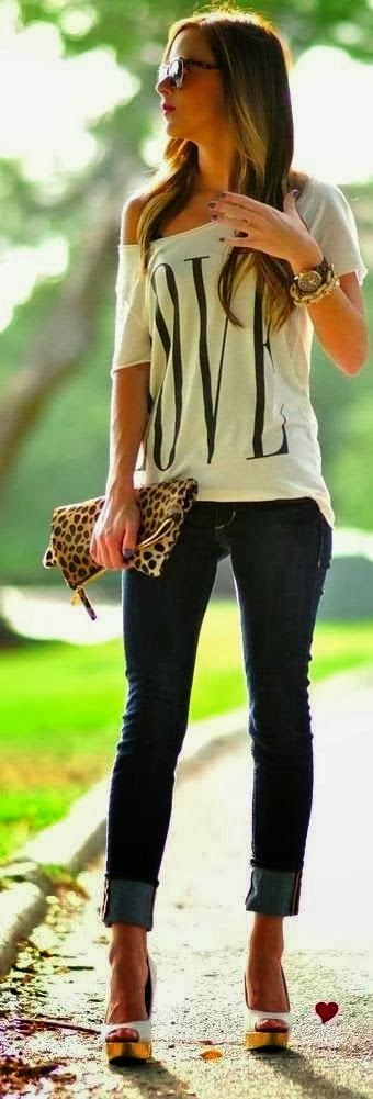 Love T-Shirt With Skinny Jeans | Fashion | Pinterest