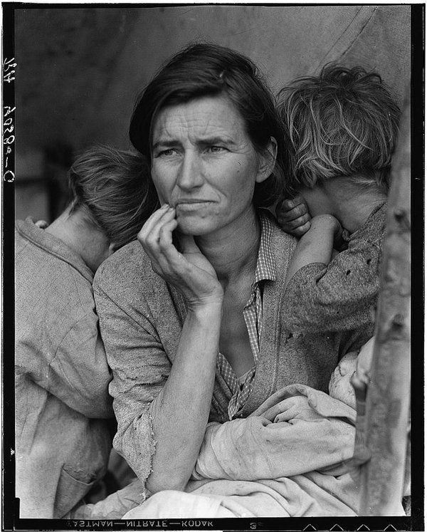 "Lange's iconic photograph of Florence Owens Thompson, often referred to as ""Migrant Mother."" It was taken at a camp full of destitute pea pickers in Nipomo, Calif., in 1936."