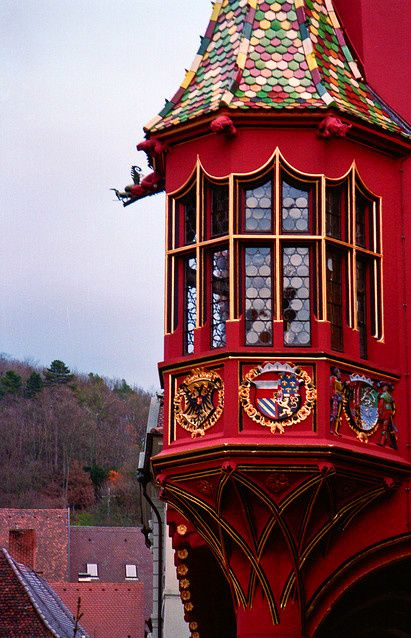 Oriel Window, Freiburg im Breisgau's Historisches Kaufhaus, or historical marketplace, was constructed between 1520 and 1530 which was once the center of the financial life of the region. Its facade is decorated with the Hapsburg coat of arms.