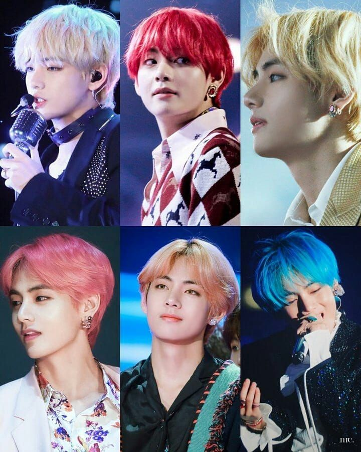 Bts V On Instagram Taehyungs Hair Colors Woahhh V Hair Bts Bts Hair Colors Kpop Hair Color
