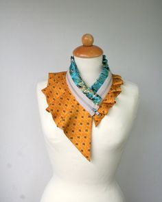 Silk collar necklace, bright orange, black, teal, cream beige, women's collar necklace