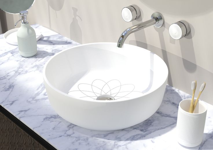 Floral motif inside the #washbasin. #Equilibrium collection. Design by #edwardvanvlietofficial by #pomdorbathworld and #official_rosenthal