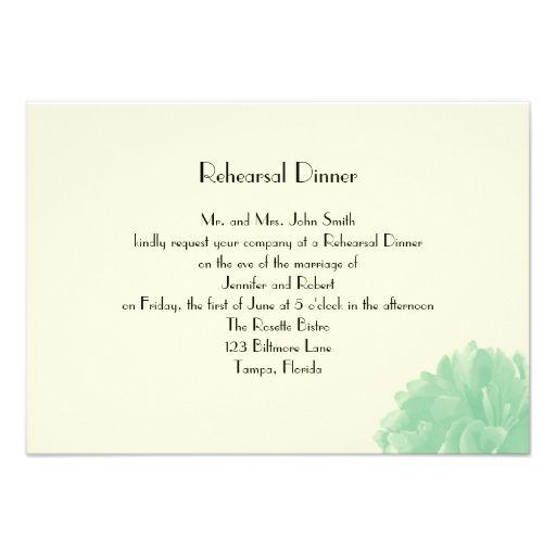 Mint Green Cream Peony Wedding Rehearsal Dinner Custom Announcement