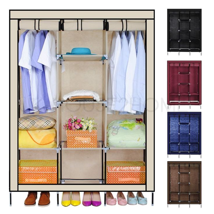 New Triple Canvas Wardrobe Home Bedroom Decor Clothes Clothing Storage Wardrobes