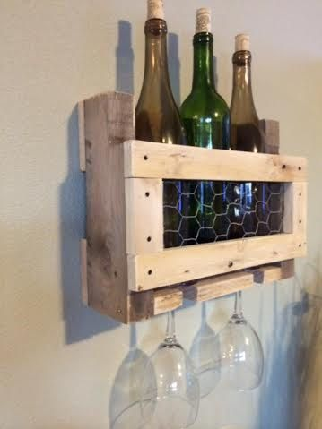 Wall mounted wine rack-Pallet wine rack-Liquor by ABCwoodworkings