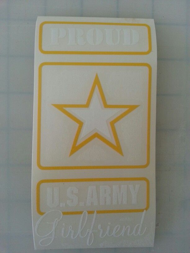 Proud Army Girlfriend decal. Check out Etsy for more styles. Etsy.com/shop/ToInfinityAndStickOn