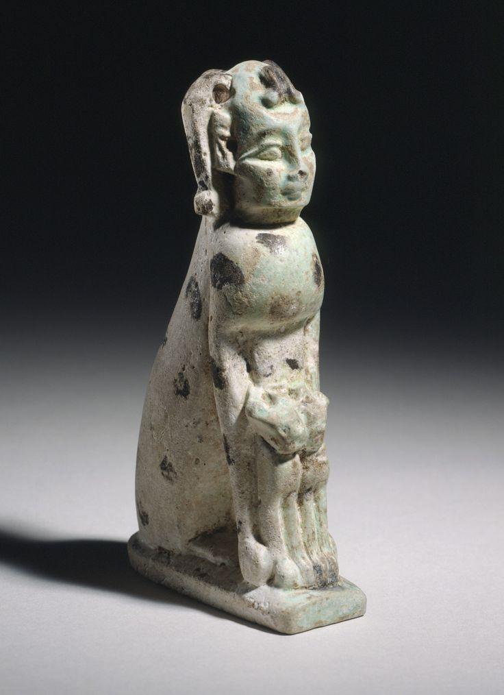 Human-Headed Cat | Egypt, 7th - 6th century B.C. Sculpture. Faience