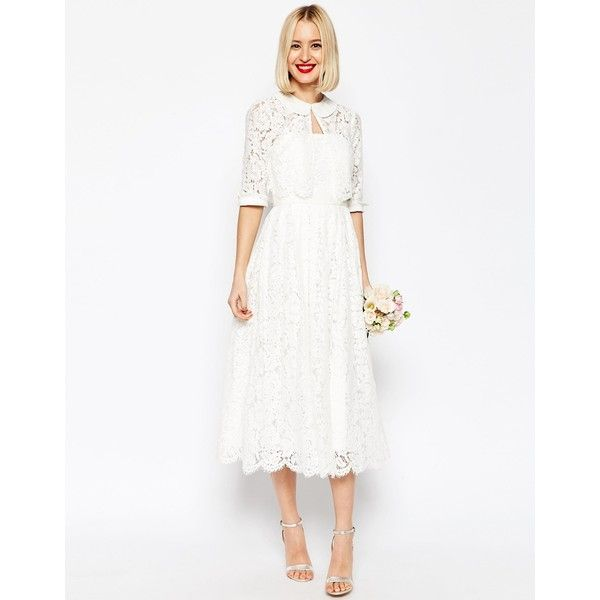 ASOS BRIDAL Lace Bandeau Midi Prom Dress With Crop Jacket ($210) ❤ liked on Polyvore featuring dresses, white, white cocktail dresses, midi cocktail dress, vintage style dresses, white lace dress and prom dresses