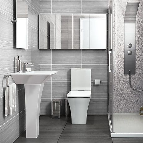 Bathroom Suites Bathroom Rooms DIY At BQ BATHROOM DESIGNS - Grey bathroom tiles bq