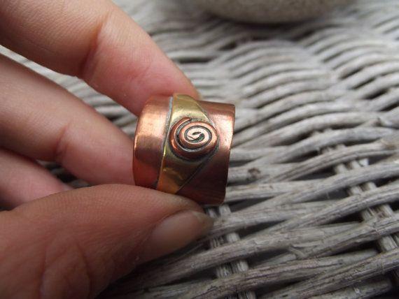 Anello uomo rame e anello in ottone rame e di silveringjewelry
