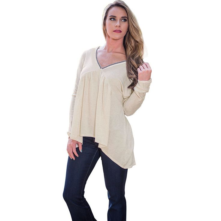 TT258 T-shirts Beige Slouchy V Neck Long Sleeve Casual Loose Fit Uneven Hem Pleated Tops Pullover Plus SizeS-XL