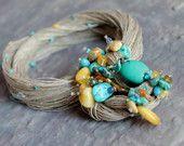 Aqua Blu turchese collana Bib spiaggia moda gioielli estate fibra arte Baltic Amber Teal Apatite cobalto Azure miele OOAK giallo oltremare