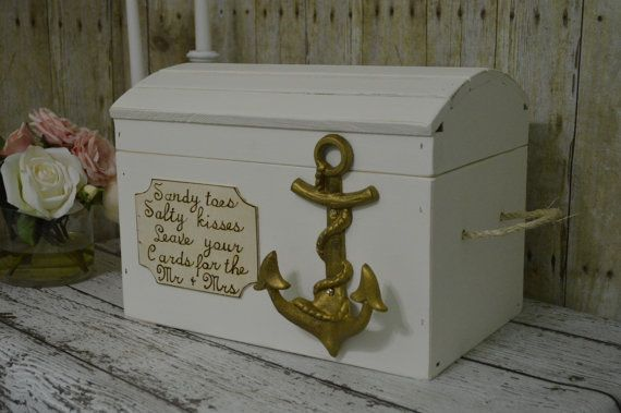 beach wedding card box gold anchor wedding by RedHeartCreations, $115.00