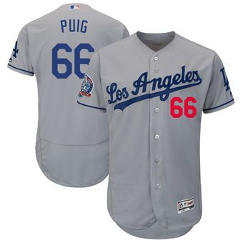 Yasiel Puig Los Angeles Dodgers Majestic 60th Anniversary Road On-Field  Patch Flex Base Player Jersey – Gray 8c1d56db375