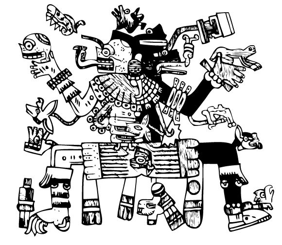 Ilustración gratis - Dioses Quetzalcoatl yMictlantecuhtli