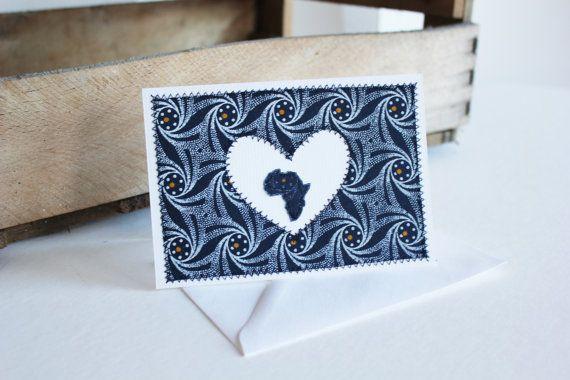I Heart Africa Blue Shweshwe fabric heart sewn card