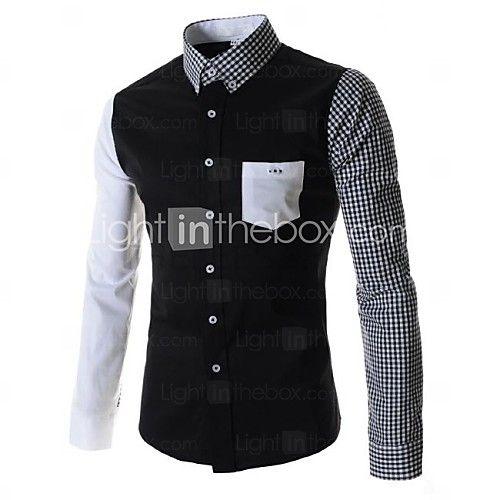Camisas ( Negro/Blanco , Algodón ) - Casual - Impresión - Manga Larga - para HOMBRES | LightInTheBox