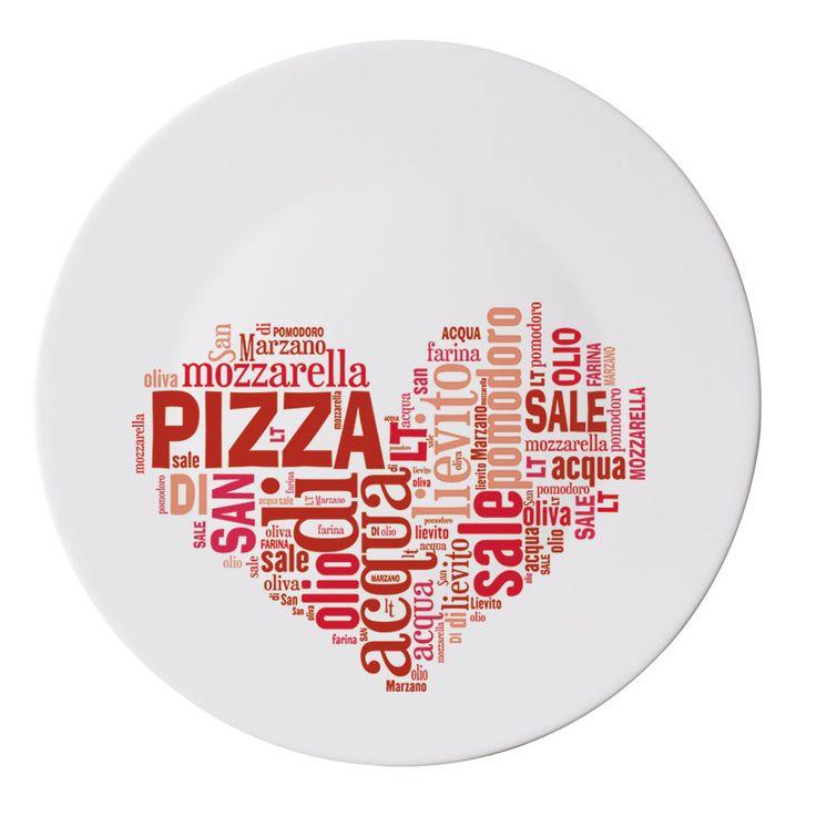 assiette pizza en verre opale ronde i love pizza. Black Bedroom Furniture Sets. Home Design Ideas